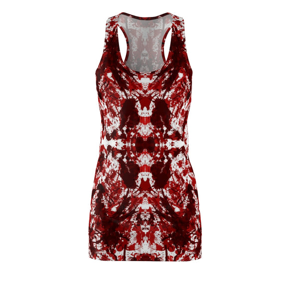 Red Kaleidoscope Cut & Sew Racerback Bodycon Dress by Revelia at Mental XS Online (Front)