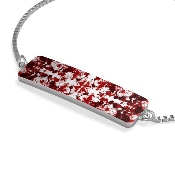 Silver Plated Box Chain Bracelet with Red Kaleidoscope Bar Charm