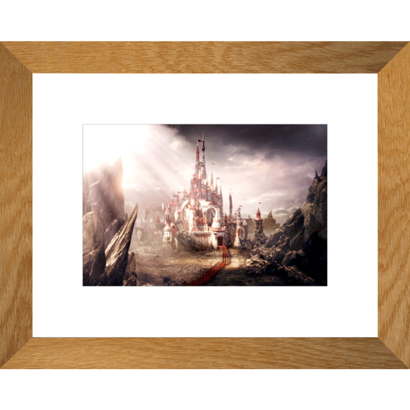Alice in Wonderland Castle Framed Fine Art Print [20x25 cm, Natural Oak Frame] :: Mental XS Online