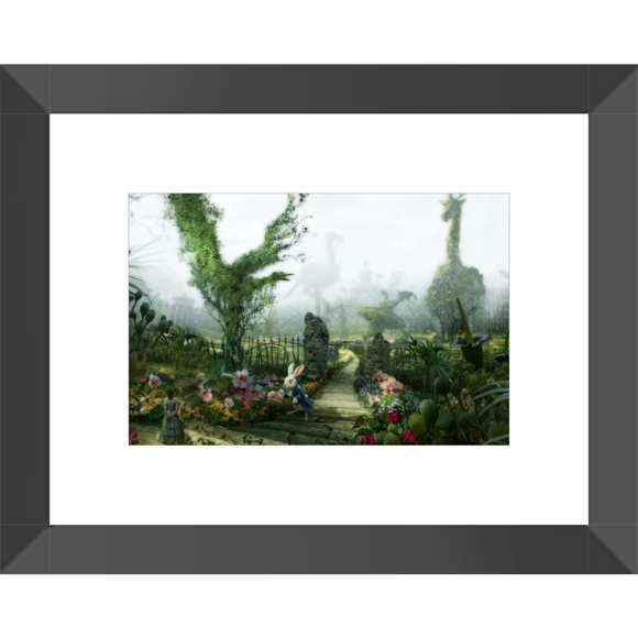 Alice in Wonderland White Rabbit Garden Framed Fine Art Print [10x15 cm, Black Frame] :: Mental XS Online