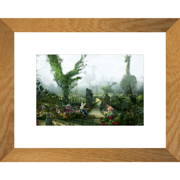Alice in Wonderland White Rabbit Garden Framed Fine Art Print [20x25 cm, Natural Oak Frame] :: Mental XS Online