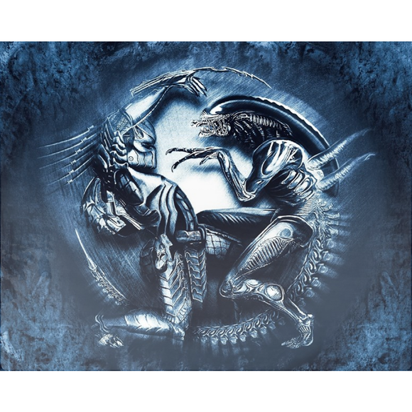 AVP Alien vs Predator Blue Metal Print [4