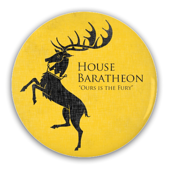 Game of Thrones BARATHEON Stag Pin-Back Button :: Mental XS Online