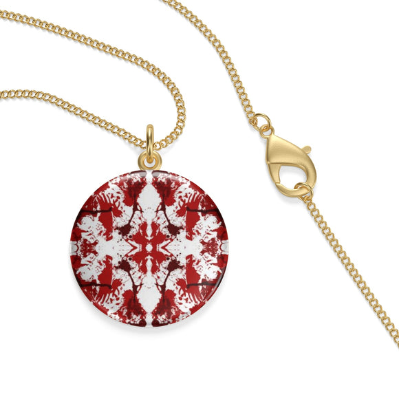 18K Gold Plated Red Butterfly Kaleidoscope Lotus Coin Pendant ¾