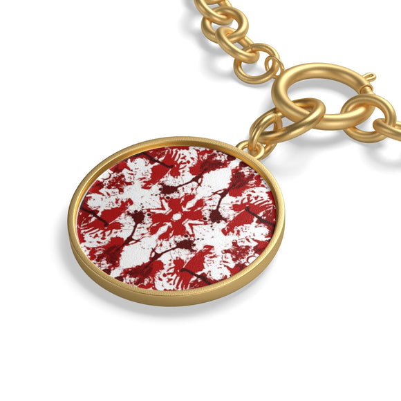 18K Gold Plated Chain Bracelet with Red Butterfly Kaleidoscope Coin Charm :: Mental XS Online EXCLUSIVE