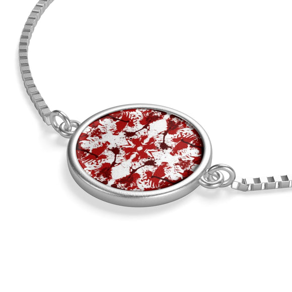 Silver Box Chain Bracelet with Red Butterfly Kaleidoscope Coin Charm