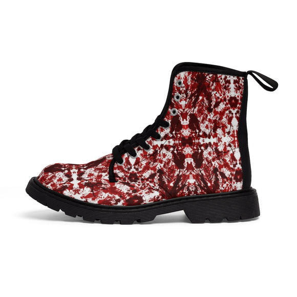MENTAL XS Women's Red Kaleidoscope Printed Lace Up Ankle Boots (Outer View) :: Mental XS Online