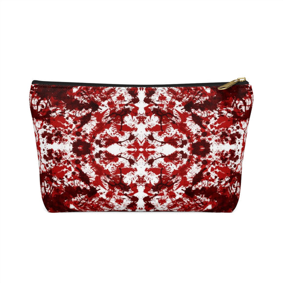 Red Kaleidoscope Accessory Pouch with T-bottom - Black (Front) from Mental XS Online