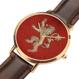 Game of Thrones LANNISTER Crest Lion Red, Gold & Brown Leather Strap Water-resistance Quartz Watch (with Blank Dial) :: Mental XS Online