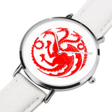Game of Thrones TARGARYEN Crest Dragons Red, Silver & White Leather Strap Water-resistance Quartz Watch (with Blank Dial) :: Mental XS Online