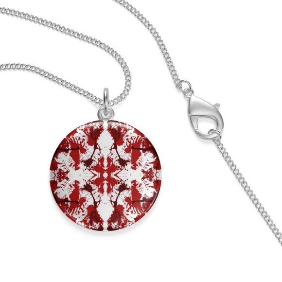 Silver Plated Red Butterfly Kaleidoscope Lotus Coin Pendant ¾