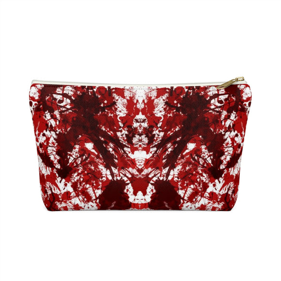 Mirrored Blood Splatter Accessory Pouch with T-bottom - White (Front) from Mental XS Online