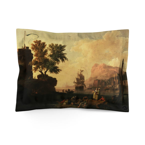 Mediterranean Harbor Scene by Pierre-Jacques Volaire Pillow Case  (Standard) :: Mental XS Online EXCLUSIVE
