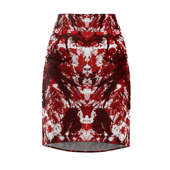 MENTAL XS Women's Red Kaleidoscope Printed Pencil Skirt (Front) :: Mental XS Online