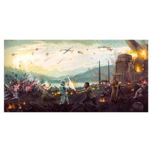 "Star Wars Episode VII: The Force Awakens ""Attack on Takodana"" Unframed Canvas Giclee Fine Art Print [17"" x 29""] - Official Acme Archives Limited Edition 195 :: Mental XS Online"