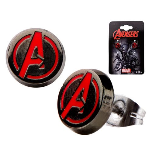 Marvel Comics Avengers A Logo Red Round Stud Earrings - Official Unisex :: Mental XS Online