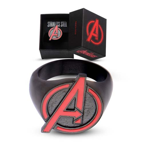 Marvel Comics Avengers Red A Logo Black Steel Ring - Official Male :: Mental XS Online