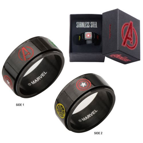 Marvel Comics Avengers Characters Logo Spinner Stainless Steel Ring - Official Male :: Mental XS Online