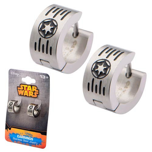 Star Wars Galactic Empire Cog and Grate Logo Huggie Earrings - Official Female :: Mental XS Online