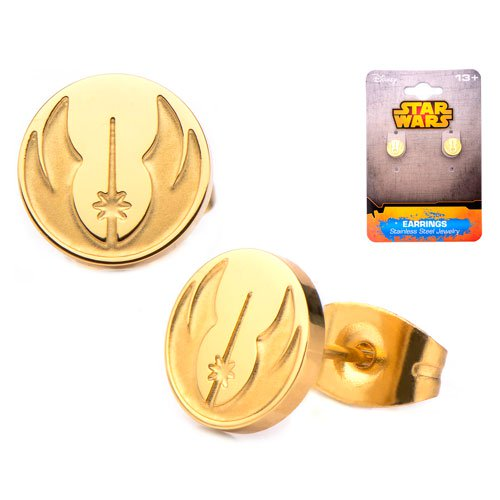 Star Wars Jedi Order Symbol Gold Platted Stud Earrings - Official Unisex :: Mental XS Online