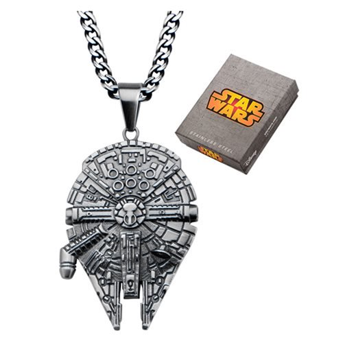 Star Wars Millennium Falcon Stainless Steel Pendant Necklace - Official Unisex :: Mental XS Online
