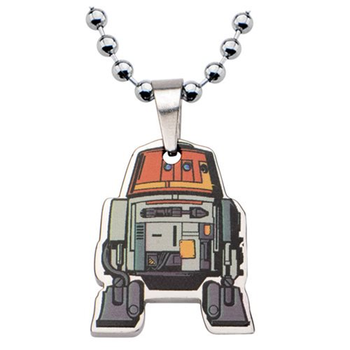 Star Wars Rebels Chopper Cut Out Stainless Steel Necklace - Official Unisex :: Mental XS Online