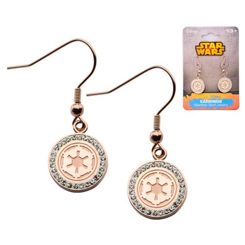 Star Wars Galactic Empire Rose Gold with Gems Earrings - Official Female :: Mental XS Online