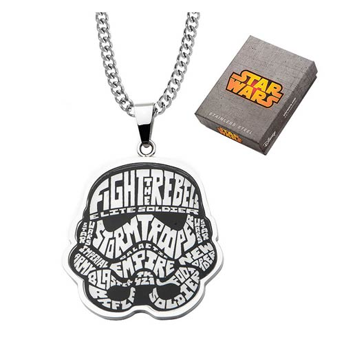Star Wars Stormtrooper Typography Art Pendant Necklace - Official Unisex :: Mental XS Online
