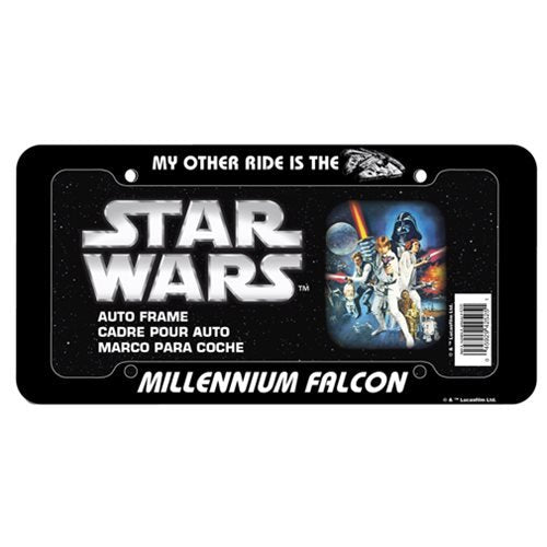 Star Wars Millennium Falcon Plastic License Plate Frame - Official Unisex :: Mental XS Online
