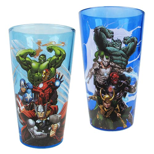 Marvel Avengers Heroes and Villains Pint Glass 2-Pack - Official Male :: Mental XS Online