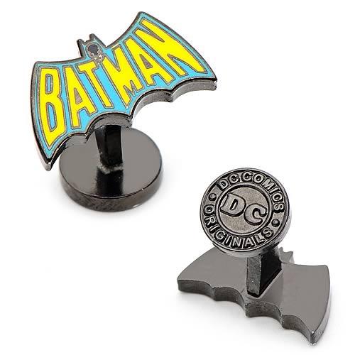 DC Comics - Batman Vintage Blue and Yellow Logo Gun-Metal Tone Cufflinks - Official Cufflinks Inc :: Mental XS Online