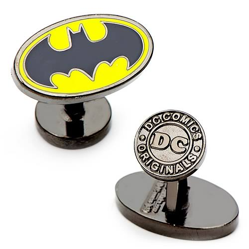 DC Comics - Batman Yellow and Black Logo Enamel Plated Oval Cufflinks - Official Cufflinks Inc :: Mental XS Online