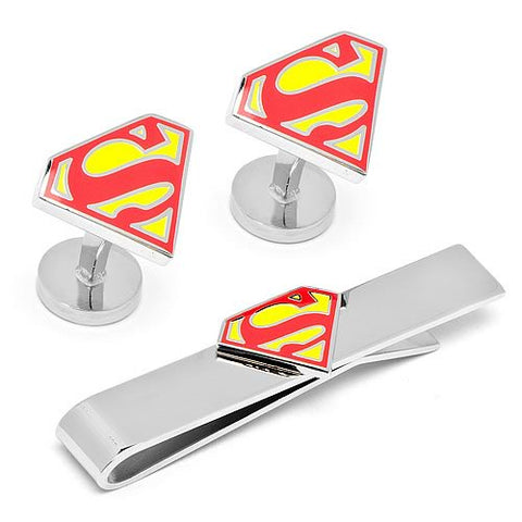 Superman Shield Logo Cufflinks and Tie Bar Gift Set