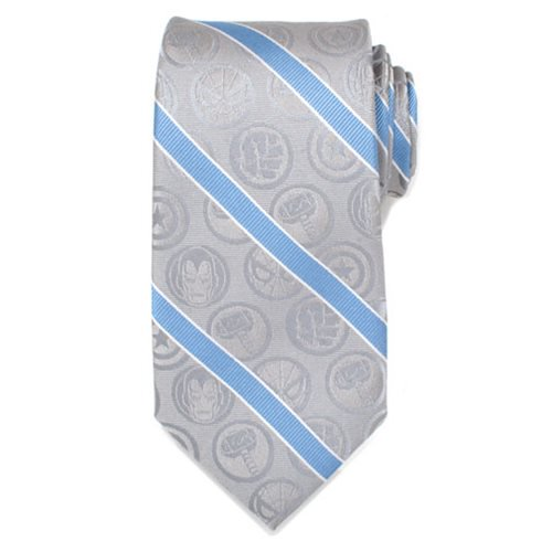 Marvel Comics Gray and Blue Stripe Mens Silk Tie - Official Cufflinks Inc :: Mental XS Online