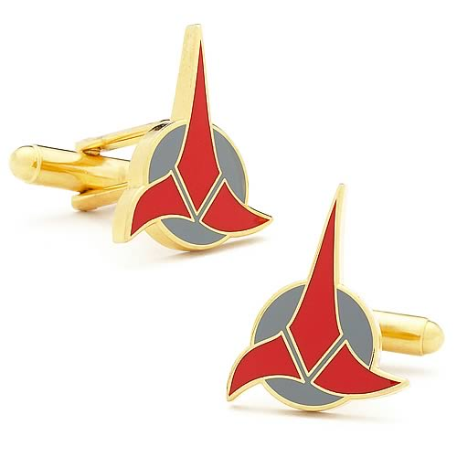 Star Trek Klingon Rhodium & Enamel Plated Gold Cufflinks - Official Cufflinks Inc :: Mental XS Online