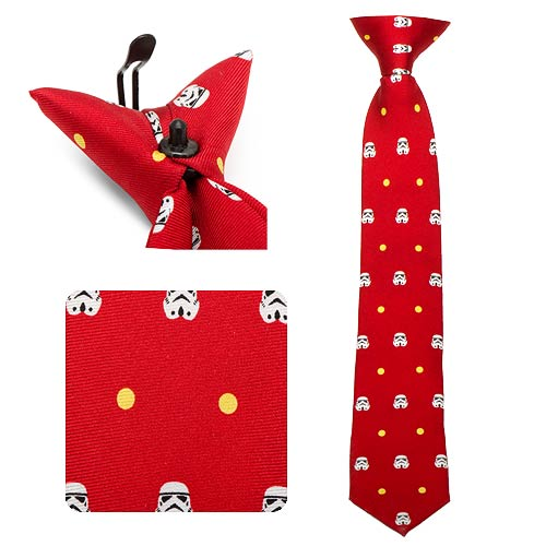 Star Wars Stormtrooper Dot Red Boys Silk Clip-On Tie - Official Cufflinks Inc :: Mental XS Online