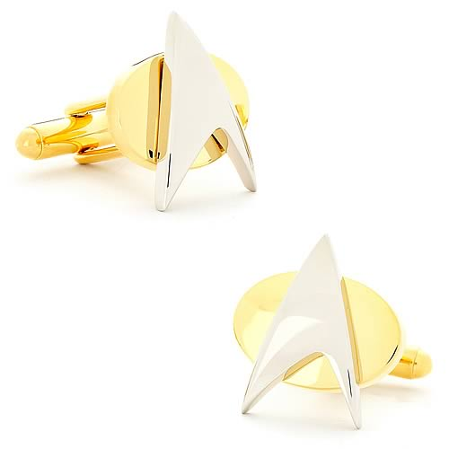 Star Trek Delta Shield Silver & Gold Cufflinks - Official Cufflinks Inc :: Mental XS Online