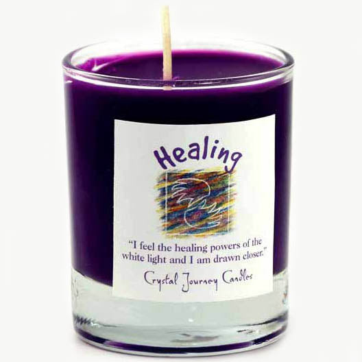 Crystal Journey Candles Dark Purple Healing Herbal Soy Votive Glass Candle 2½