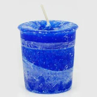 Blue Good Health Reiki-Charged Herbal Votive Candle 2½