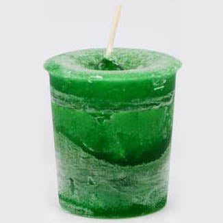 Green Money Reiki-Charged Herbal Votive Candle 2½
