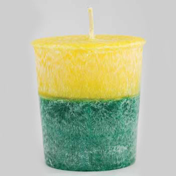 Yellow & Green Patchouli & Amber Palm Oil Votive Candle