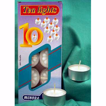 Menora White Tealight Candles - 10 pack