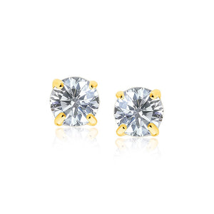 14K Yellow Gold Round Cubic Zirconia Stud Earrings (8mm) - Fine Jewelry from Hamunaptra NY :: Exclusively at Mental XS Online