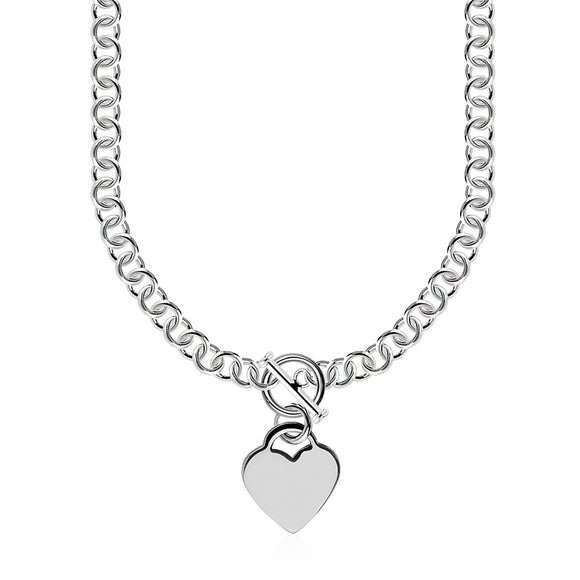 Sterling Silver Rolo Chain  with a Heart Toggle Charm and Rhodium Plating - Fine Jewelry from Hamunaptra NY :: Exclusively at Mental XS Online