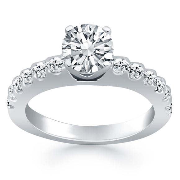 14K White Gold 0.5 ct Diamond Micro Prong Cathedral Engagement Ring
