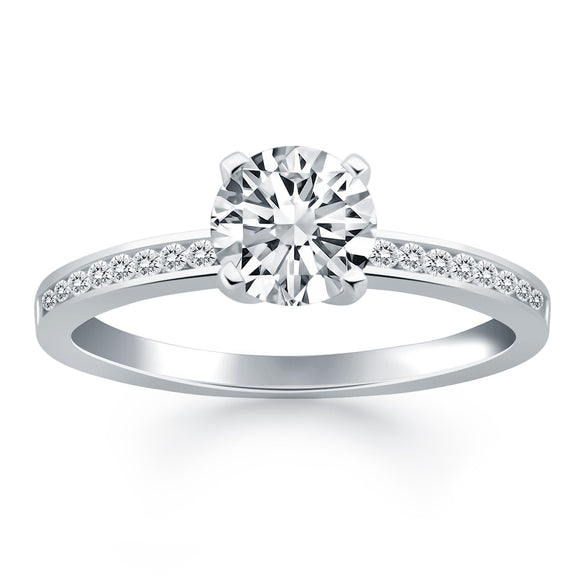 14K White Gold Channel Set 1/2 ct Diamond Engagement Ring