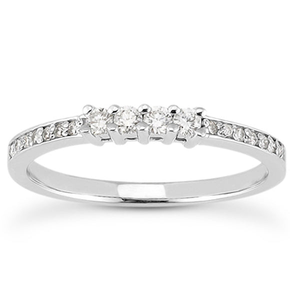 14K White Gold .07 ct Pave & .14 ct Prong Set Diamond Wedding Ring