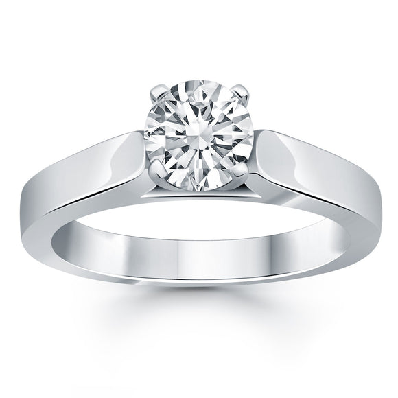 14K White Gold Cathedral 0.5ct Solitaire Diamond Engagement Ring