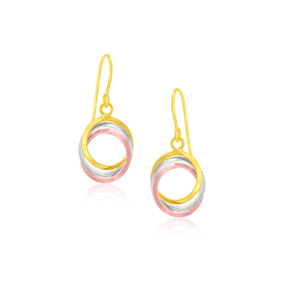 14K Tri-Color Gold Open Entwined Ring Earrings - Fine Jewelry from Hamunaptra NY :: Exclusively at Mental XS Online
