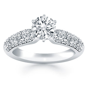 14K White Gold Triple Row Pave 0.5 ct Diamond Engagement Ring